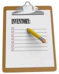 Clipboard with Inventory message and checkboxes